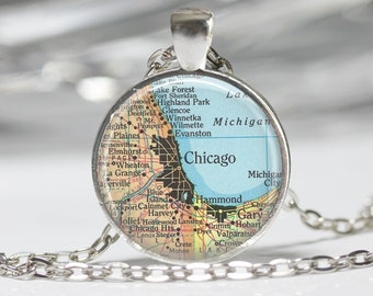 Chicago Necklace  Map Jewelry Genealogy Necklace Home Necklace Chicago Jewelry Chicago Keychain Map Necklace