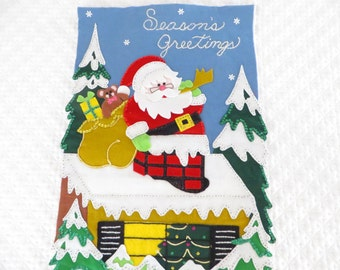 Vintage Christmas Felt Sequined Banner - Felt Christmas Banner
