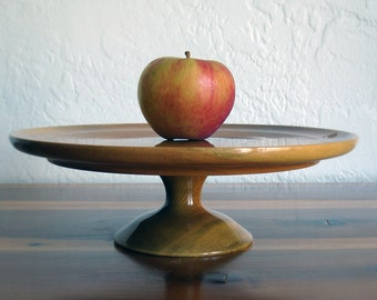 Vintage Wooden Cake Stand with Pedestal Base - Hand Turned Wood