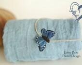 2 piece set Beautiful Blues swaddle set+Headtie Newborn Swaddle Wrap Gentle Ocean Blue Color w Beautiful Butterfly Rustic Headtie