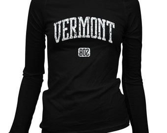 Women's Vermont 802 Long Sleeve Tee - S M L XL 2x - Ladies' Vermont T-shirt - 2 Colors