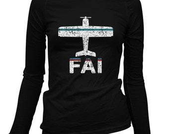 Women's Fly Fairbanks Long Sleeve Tee - FAI Airport - S M L XL 2x - Ladies' Fairbanks T-shirt, Alaska - 2 Colors