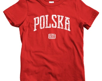 Kids Polska 1918 Poland T-shirt - Baby, Toddler, and Youth Sizes - Polish Tee, Warsaw, Wroclaw, Krakow, Gdansk - 4 Colors