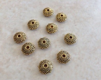 16 gold plated daisy flower bead spacers