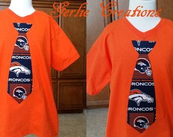 Boys Broncos Shirt,Broncos Tie Shirt,  Boys Shirt, Broncos Shirt, Orange Shirt - XS 4/5 S 6/7 M 8 L 10/12