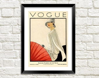 VOGUE MAGAZINE POSTER: Vintage Art Deco Fashion Magazine Cover, Red Art Print Wall Hanging