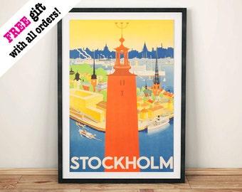 STOCKHOLM TRAVEL POSTER: Vintage Sweden Travel Advert, Orange Art Print Wall Hanging