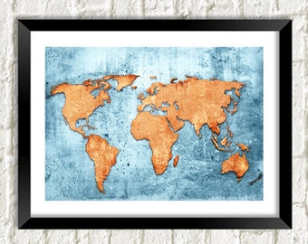 MAP POSTER PRINT: World Art Illustration Wall Hanging (A4 / A3 Size)