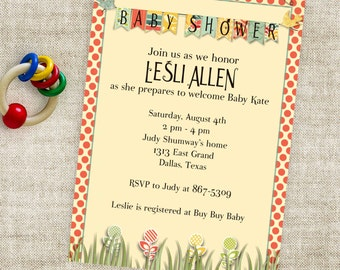 Spring Baby Shower Invitation with Garden Theme with Birds and Banner Printable Custom Personalized Digital Professional Printing Option