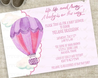 Baby Girl Watercolor Hot Air Balloon Baby Shower Invitation in Pink and Purple Personalized Digital File with Professional Printing Option