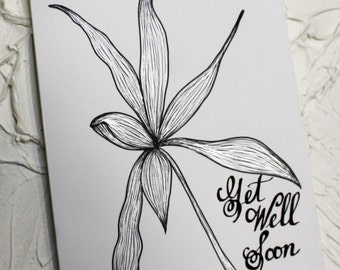 "Original Silver & Black Hand Drawn Greeting Card.""Get Well Soon"" Greeting Card.  5"" x 6.5""   - by Alisa"