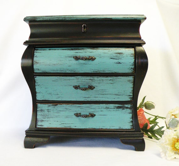 Large jewelry box black and turquoise oversize jewelry for Girls large jewelry box