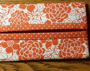 Red Floral & Red Polka Dot Fabric Travel Tissue Pouch/Holder