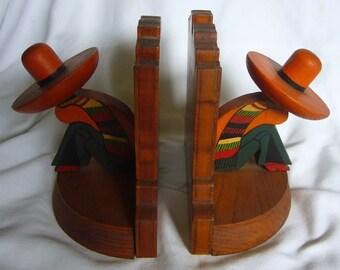 "Vintage Oak Wood Bookends ""Sombero"""