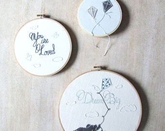 Personalized Nursery Art Embroidery Hoop Set of Three