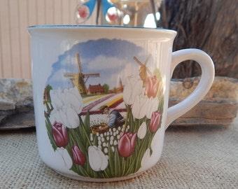 Tulips and Windmills Holland Scene Tea Cup  ~  Royal Schwabap Tea Cup  ~  1984 Royal Schwabap Ter Steege BV Holland  ~  Tulip Tea Cup