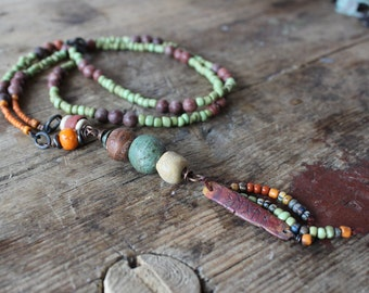 Runic necklace: Blessing, long rustic necklace, green and brown necklace, rune amulet necklace, earthy talisman necklace, tribal necklace