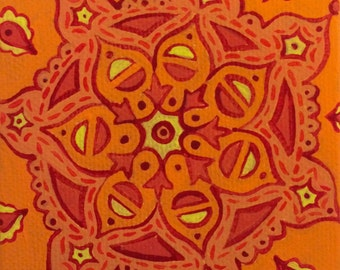 Orange Mandala 1 : Original Painting on Stretched Canvas