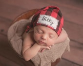 buffalo plaid baby hat - personalized newborn hat - trendy coming home outfit - photo prop- baby shower gift - baby personalized gift