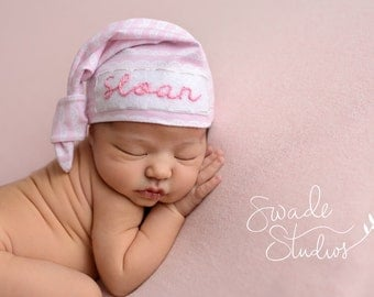 Newborn personalized hat - baby girl - personalized baby gift - hospital hat - coming home outfit - baby monogramed hat - baby shower gift