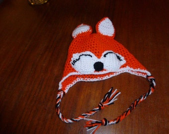 Child's  fox hat with warming ear flaps. Cute and practical. Made in Canada.