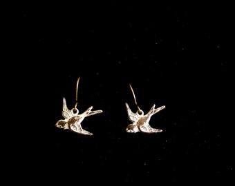 Tiny Bird Earrings, Distressed White Bird Earrings, Antiqued Brass Bird Earrings, Patina Brass Bird Pierced Earrings, Bird Jewelry