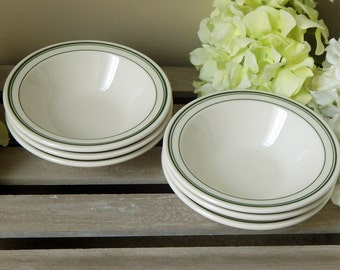 Set of 6 Homer Laughlin Best China Green Stripe Restaurant Ware Grapefruit / Cereal Bowls