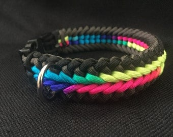 NEW!!!  Black and Gray with Rainbow Tie-Dye Paracord Dog Collar in the Wide Sanctified Weave (custom size)