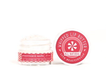 SUMMER SALE - Peppermint & Vanilla - Whipped Lip Butter - Natural Icing for Your Lips
