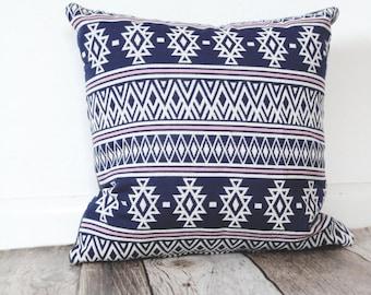 Aztec Print Pillow, Navy and Pink Pillow, Modern Pillow, Throw Pillow, Home Decor