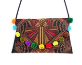 Colorful Pom Poms Cross Body Bag With Embroidered Fabric Thailand (BG4733-24C39)