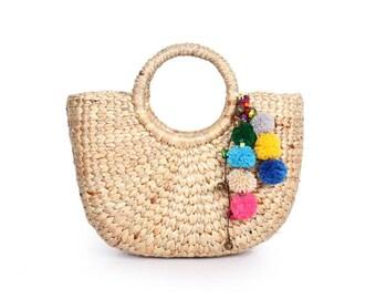 Small Size Water Hyacinth Beach Bag Feature With Pom Pom Tassel (BG8176-1C27)