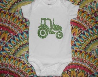 Beautiful Green Tractor Baby Bodysuit