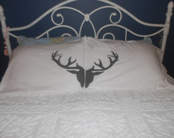 Buck Head on Set of Pillowcases - Christmas Gift Idea - Bedroom Decor