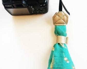 Teal Wristlet Camera Strap with Gold Foil Feathers, Wrist DSLR Camera Strap, Stylish Teal Camera Strap