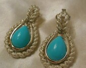 40% OFF SALE Avon Blue Teardrop Silver and Turquoise Colored Clip Earrings