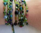 Greenie: Versatile crocheted necklace / bracelet / belt / headband