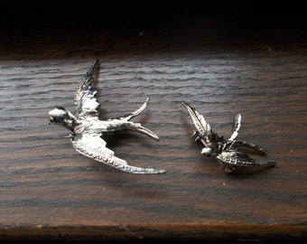 Two Lovely Silver Soaring Bird Pins