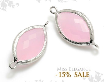 2pcs Mint Pink Marquise Frame Faceted Glass, Connectors, Links, Rhodium Plated, Earrings Necklaces Bracelets // G13N-065-BR