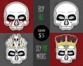 PDF DIY masks for Halloween instant download Skeleton Skull mask printable mask last minute halloween costume idea for masquerade