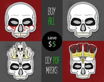 PDF DIY set of 4 masks for Halloween, instant download Skeleton Skull, printable mask, last minute haloween costume idea for masquerade