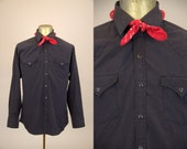 70s Western Pearl Snap Black Western Permanent Press Cowboy Shirt