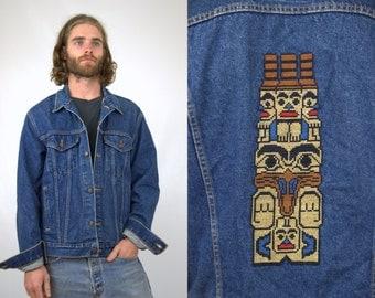SALE Levis Totem Pole Embroidered Levis Dark Denim Four Pocket Jean Jacket