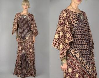 70s Indian Cotton Hand Blocked Angel Sleeve Bohemian Dashiki Kaiser Dress Festival Maxi