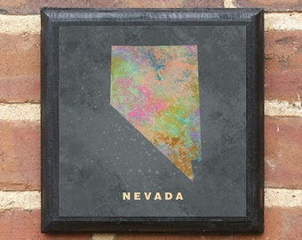 Nevada NV Splatter Watercolor Paint Effect Wall Art Sign Plaque Gift Present Personalized Color Custom Home Decor Vintage Style Reno Classic