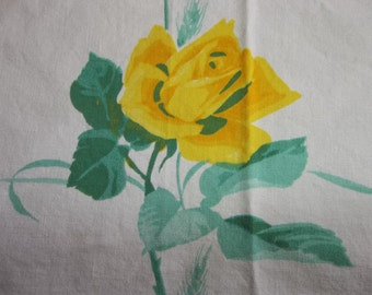 "Mid Century Cotton Tablecloth...Cottage Chic...47"" by 40""... ROSES...Wilendur Era"
