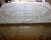 "Vintage lace Tablecloth ivory natural Quaker lace banquet rectangle 72"" X 90"""