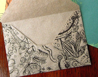 6 Springtime envelopes - Screen printed paper envelopes with woodland animals and plants