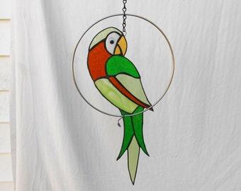 Stained Glass Suncatcher, Handmade Glass Yard Art, Original Garden Decor, Bird Mobile, Parrot in a Ring, Tropical Home Decor, Glass Bird