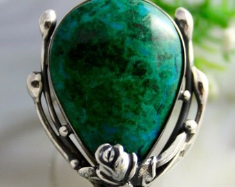 Chrysocolla Ring Green Stone Ring Sterling Silver Jewelry